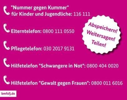 Wichtige Telefonnummern und Links bei Problemen und Konflikten zu Hause: